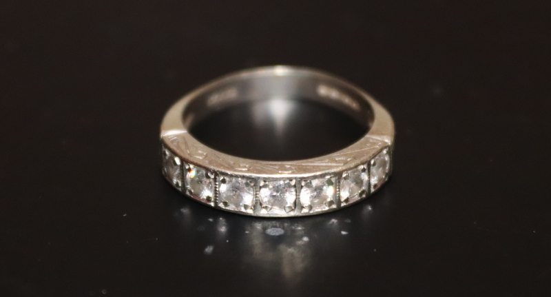 Lot 89 - 9ct White Gold CZ Half Eternity Ring, Fully Hallmarked, Ring Size P. 4 Grams