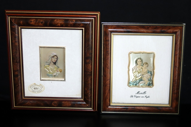 Lot 196 - Pair Of Framed Silver Miniature Plaques Both Depicting Madonna And Child