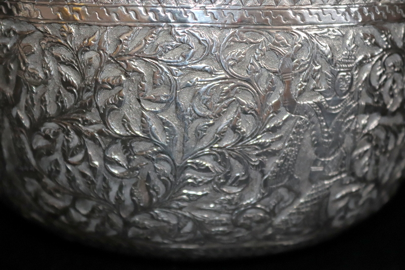 Lot 38 - 19thC Burmese Silver Bowl, Finely Embossed With Dancing Temple Girls