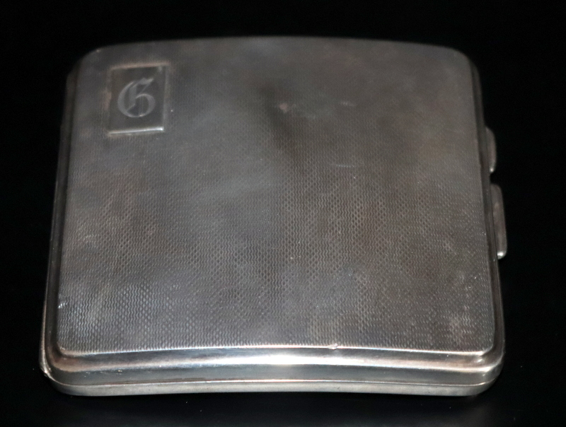Lot 218 - Silver Cigarette Case Of Convex Form, Engine Turned, Fully Hallmarked
