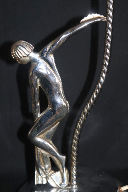 Lot 184 - Art Deco Chrome Lamp, Barley Twist Stem, Naked Maiden With Outstretched Arm