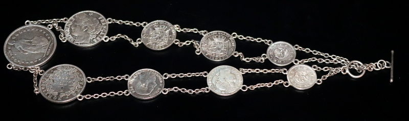 Lot 166 - 19thC Continental Silver Coin Necklace, Nine Various Coins With Chain