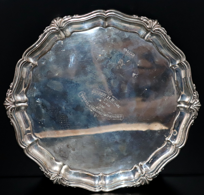 Lot 123 - Silver Salver Of Circular Shaped Form With Acanthus Moulded Edge, Fully