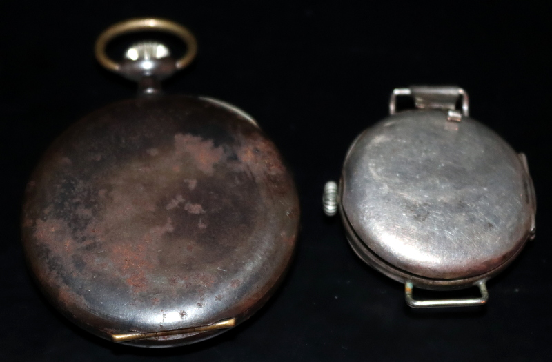 Lot 146 - Military Style Trench Watch And Pocket Watch, Silver Wristwatch