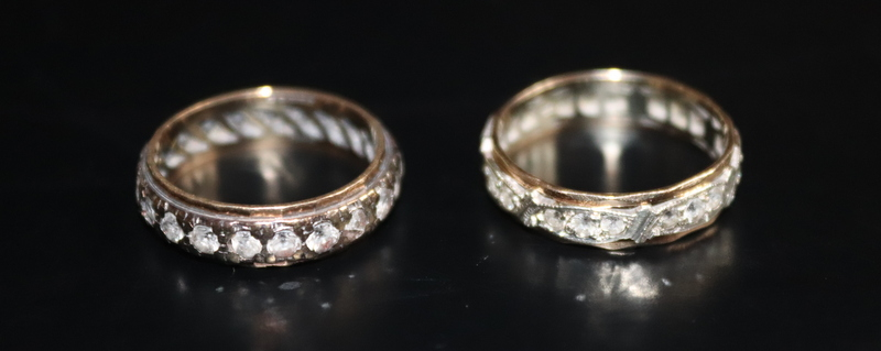 Lot 78 - Two 9ct Gold Eternity Rings, Both Set With White Faceted Stones, Fully Hallmarked