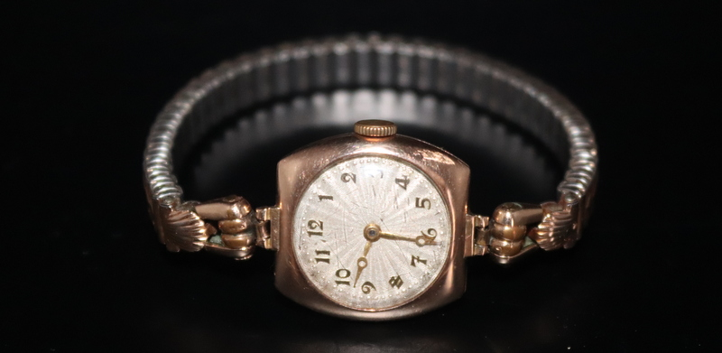 Lot 131 - Ladies Early To Mid 20thC Wristwatch, 9ct Gold Case, Plated Expandable