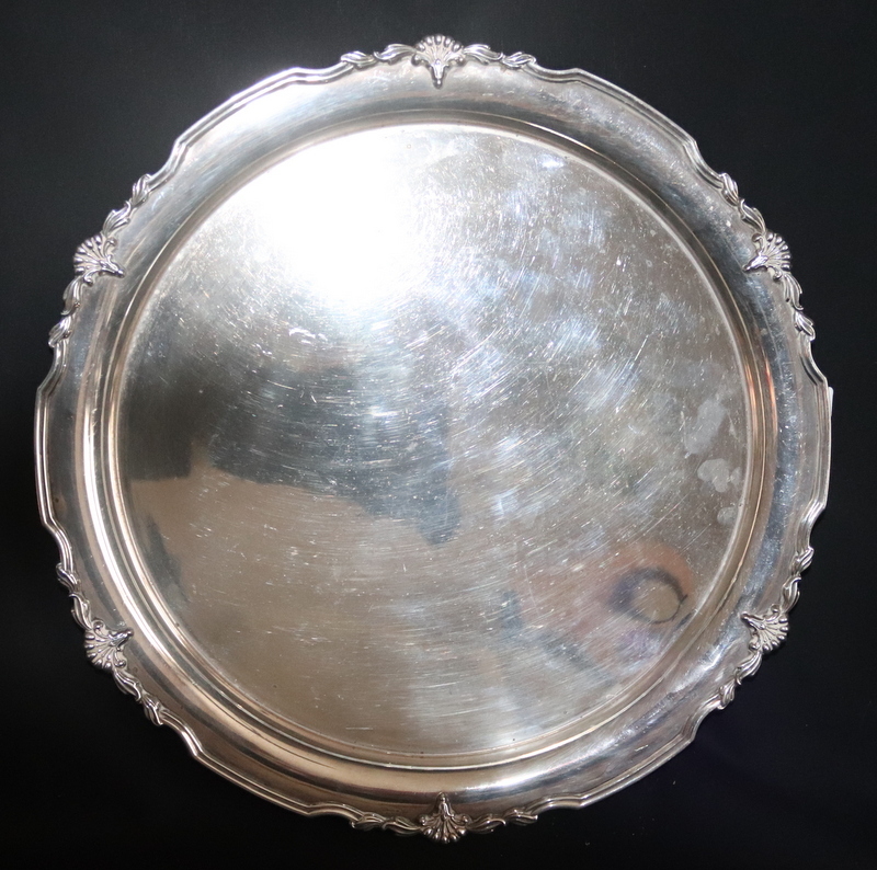 Lot 96 - Solid Silver Tray Of Circular Form, Bouquet Design To Edge, Fully Hallmarked