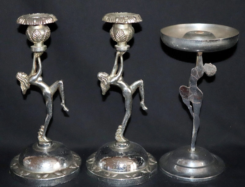 Lot 185 - Pair Of Chrome Art Deco Candlesticks The Stems In The Form Of Naked Maidens