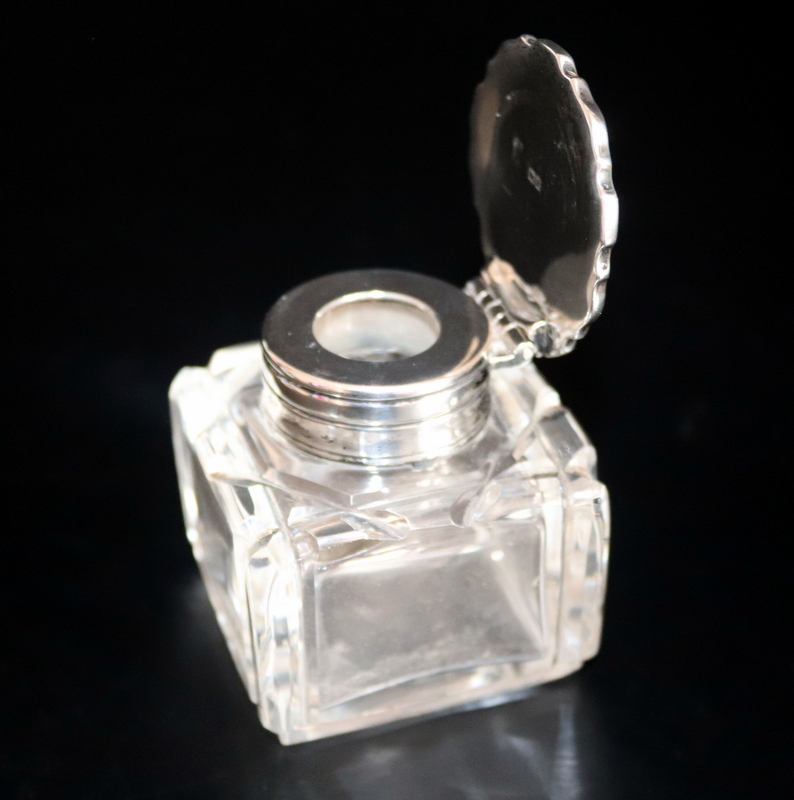 Lot 114 - Silver Hinged Topped Cut Glass Inkwell, Pie Crust Top Fully Hallmarked