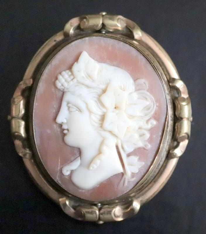 Lot 16 - Victorian Yellow Metal Cameo Brooch, Depicting A Classical Maiden