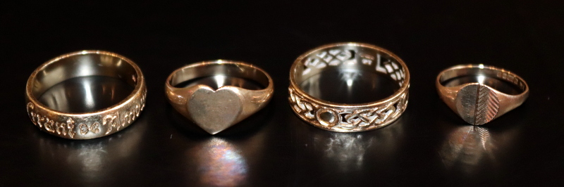 Lot 47 - Four 9ct Gold Rings, All Hallmarked. Weight 8.8 Grams