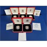 COINS 5 £1 UK SILVER PROOF PIEDFORT ONE POUND COINS 1993 TO 2002 IN ORIGINAL CASES