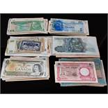 A COLLECTION OF WORLD BANKNOTES IN MIXED CIRCULATED GRADES 220 APPROX