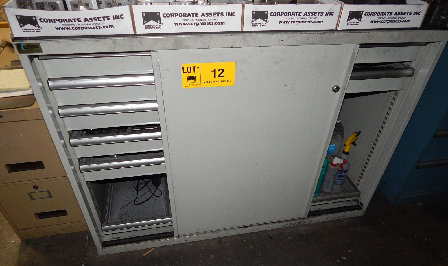 LISTA 8 DRAWER SLIDING DOOR CABINET (NO CONTENTS, DELAYED DELIVERY)