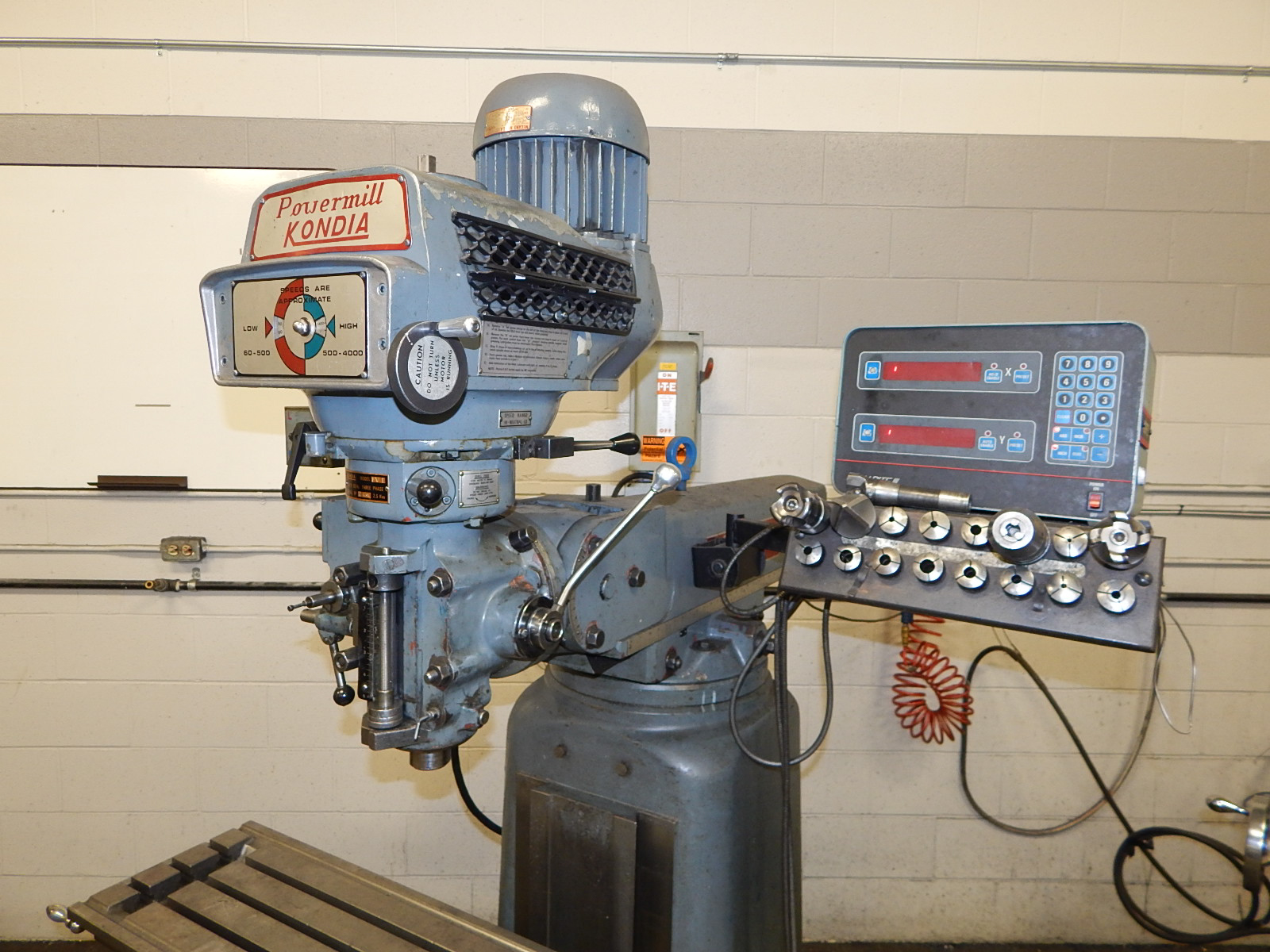 """KONDIA FV-1 VERTICAL TURRET MILL WITH 48""""X12"""" TABLE, SPEEDS TO 4000 RPM, ACCURITE III 2 AXIS DRO, - Image 2 of 2"""