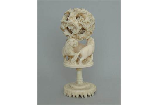 A Small Chinese Antique Ivory Puzzle Ball On A Carved Lion Stand Circa 1900 16 Cm High