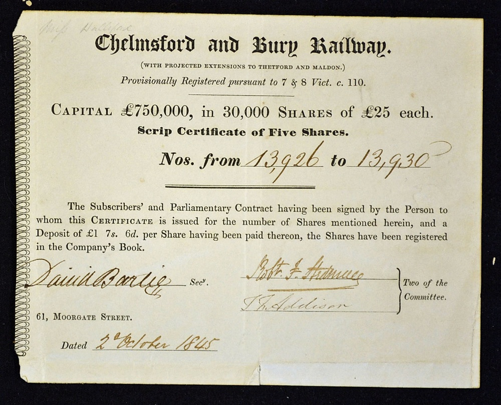 Great britain share certificate chelmsford and bury railway 1845 lot 45 great britain share certificate chelmsford and bury railway 1845 bearer share certificate 1betcityfo Gallery