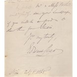 Lot 177 - LEAR EDWARD: (1812-1888) English Artist, Illustrator and Poet. Brief A.L.S.