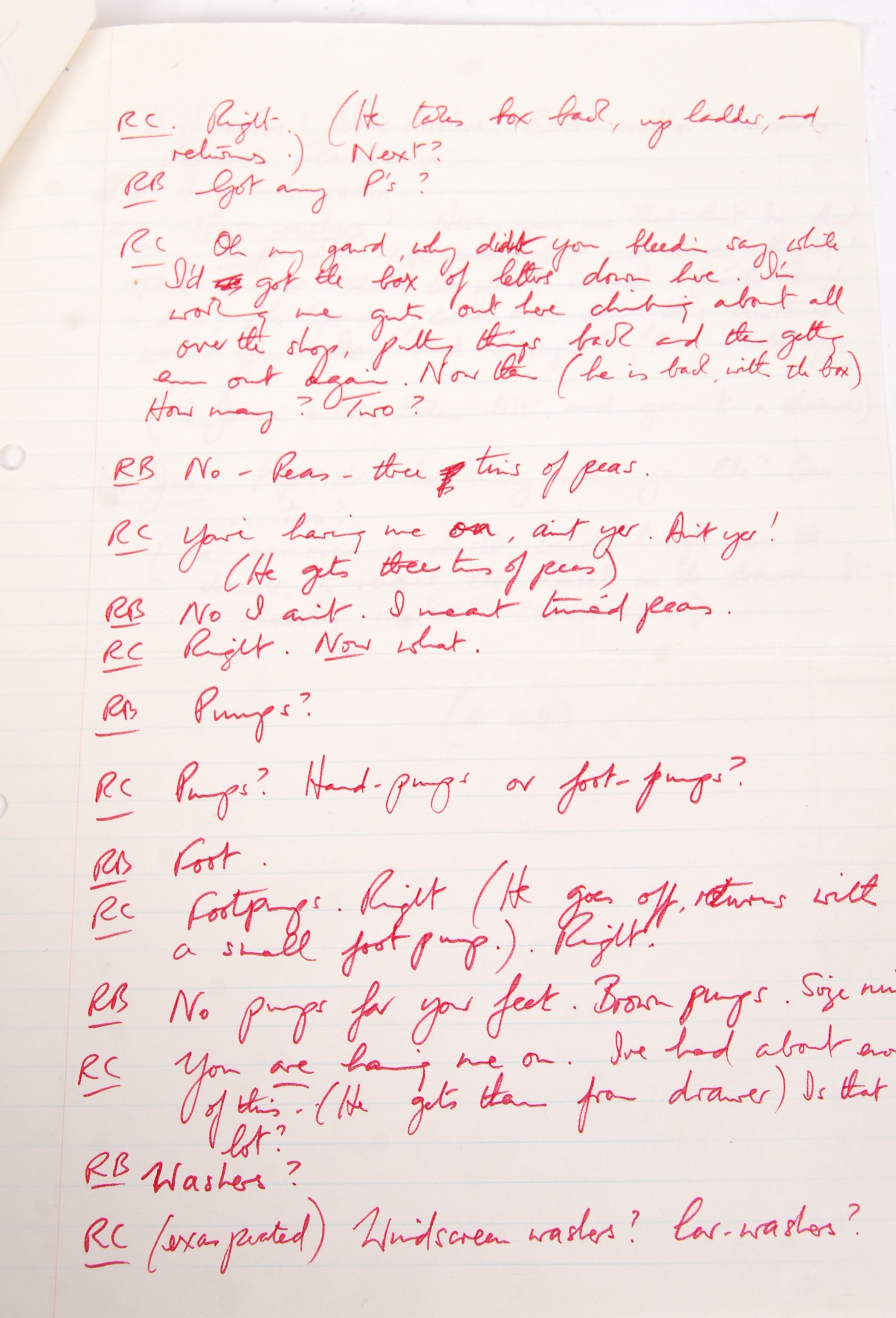 RONNIE BARKER'S HANDWRITTEN TWO RONNIES ' ANNIE FINKHOUSE ' FORK HANDLES SCRIPT - Image 5 of 7