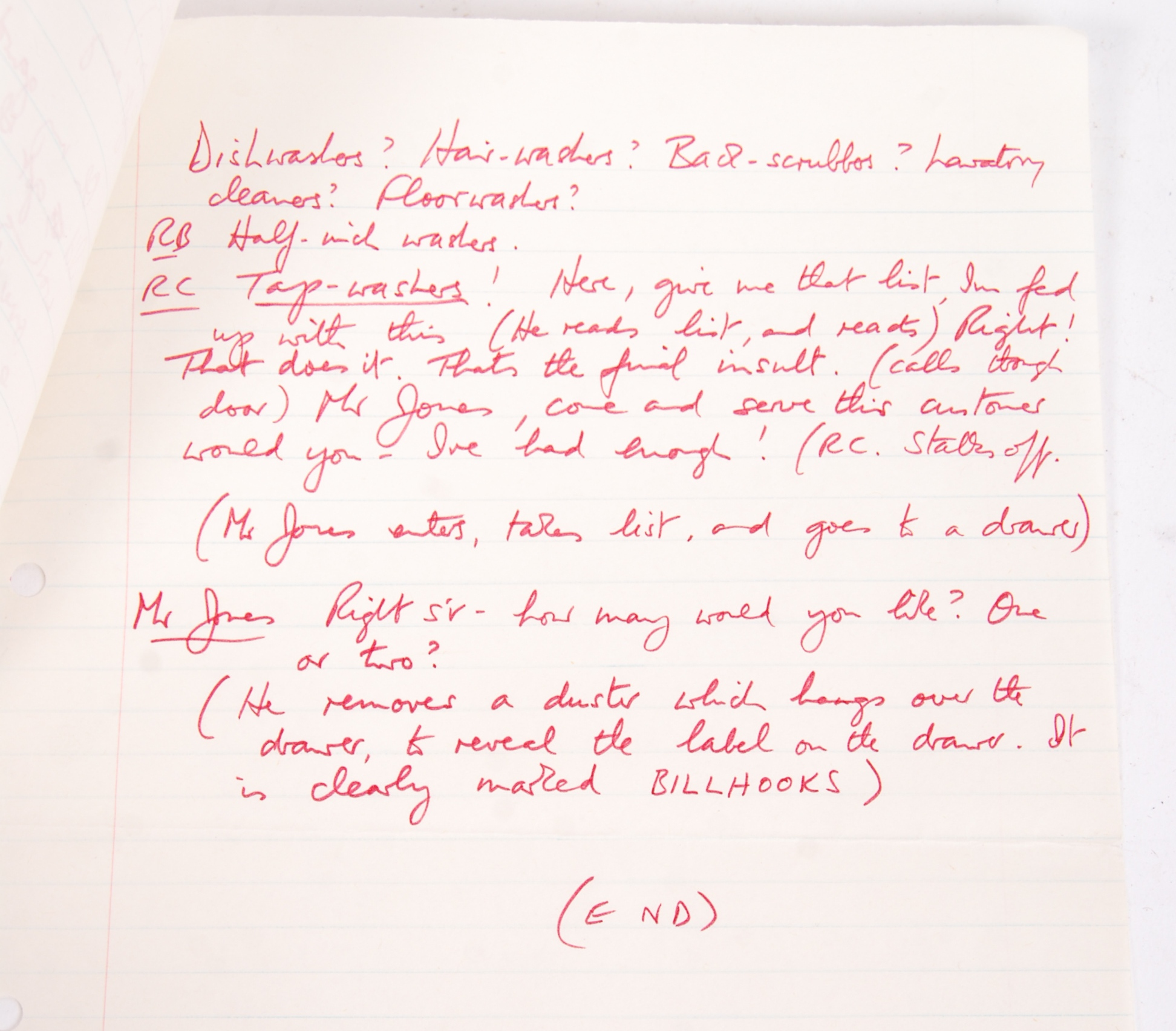 RONNIE BARKER'S HANDWRITTEN TWO RONNIES ' ANNIE FINKHOUSE ' FORK HANDLES SCRIPT - Image 6 of 7