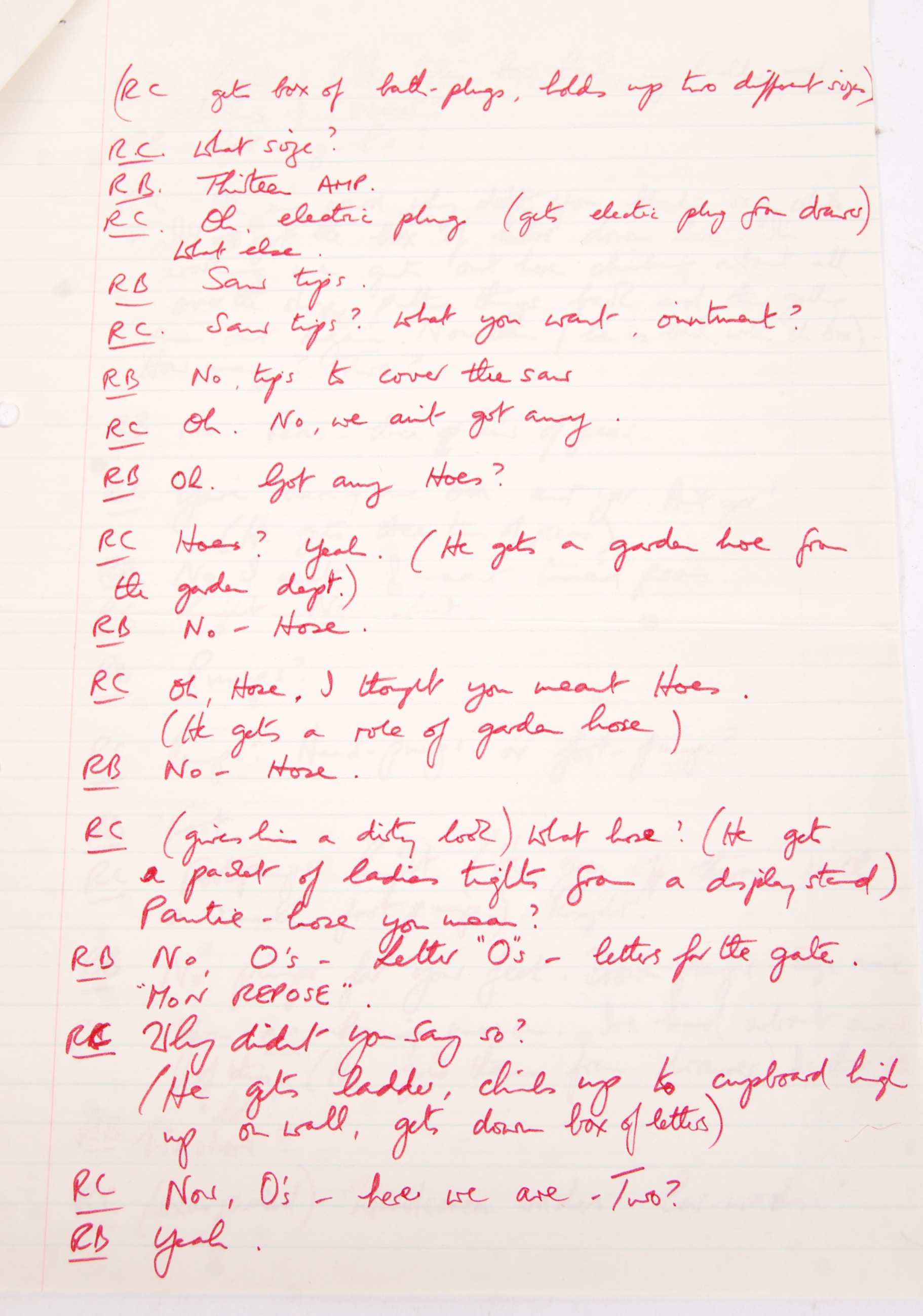 RONNIE BARKER'S HANDWRITTEN TWO RONNIES ' ANNIE FINKHOUSE ' FORK HANDLES SCRIPT - Image 4 of 7