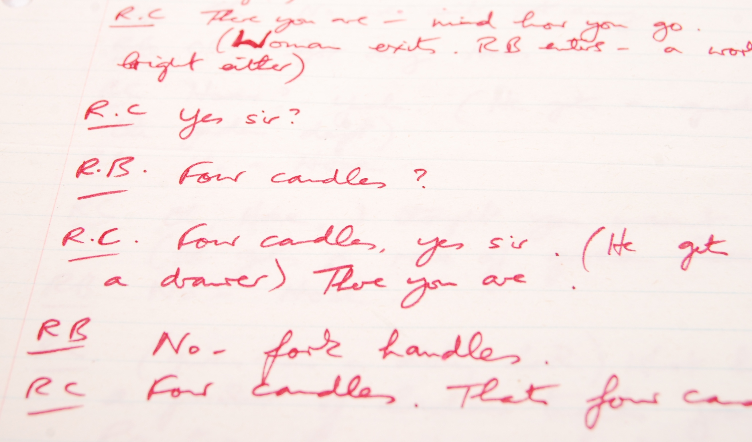 RONNIE BARKER'S HANDWRITTEN TWO RONNIES ' ANNIE FINKHOUSE ' FORK HANDLES SCRIPT - Image 2 of 7