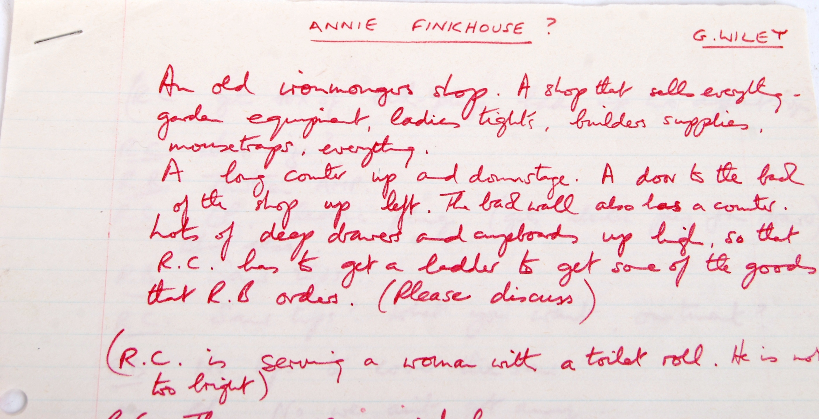 RONNIE BARKER'S HANDWRITTEN TWO RONNIES ' ANNIE FINKHOUSE ' FORK HANDLES SCRIPT - Image 3 of 7