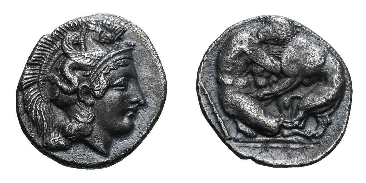 Lot 4 - Lucania, Heraclea. c. 4th Century BC. Alexandrian Diobol, 1.09g (6h). Obv: Head of Athena right with