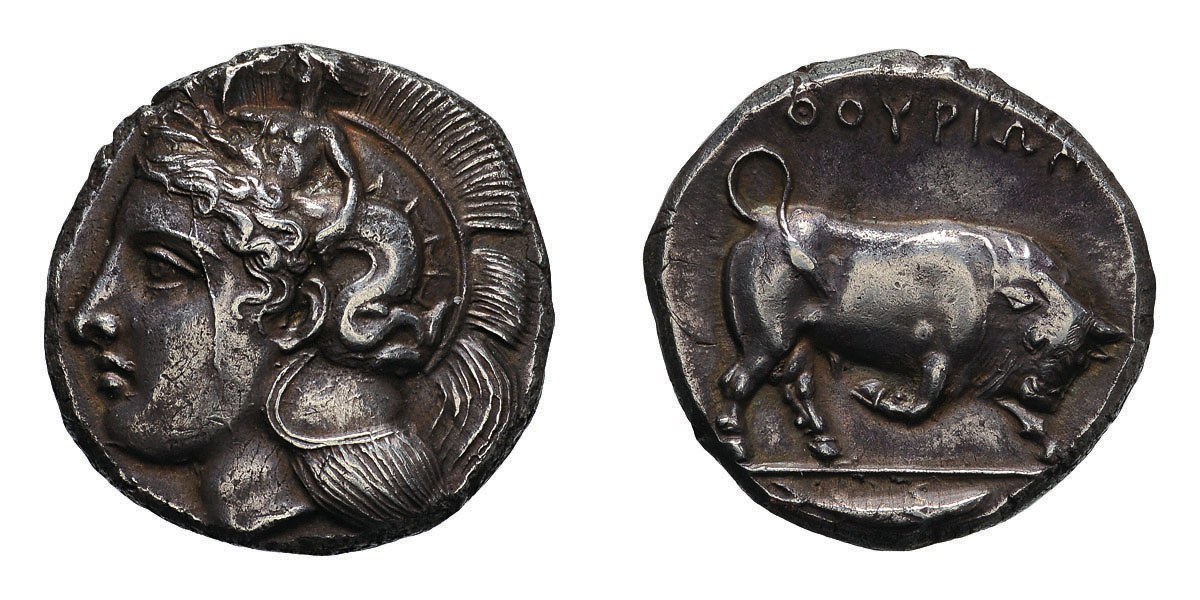 Lot 7 - Lucania, Thurium. c 380-360 BC. Distater, 15.90g (1h). Obv: Head of Athena left, wearing crested