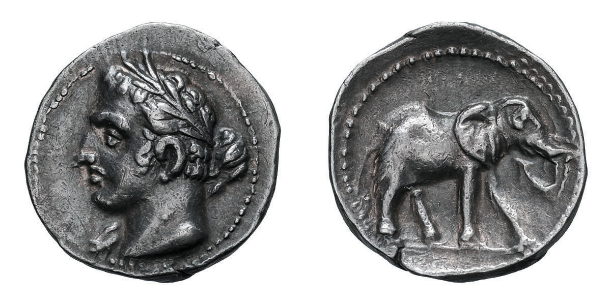 Lot 23 - Punic Spain under the Barcids. c. 237-209 BC. AE Quarter Shekel, 1.90g (11h). Obv: Head of Melqart
