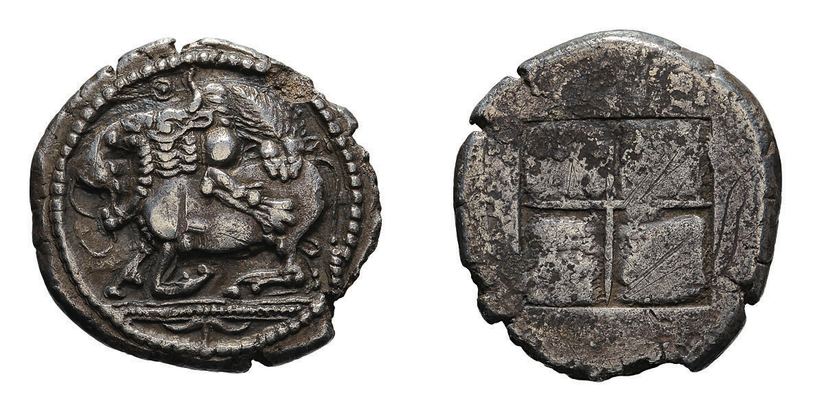 Lot 24 - Macedonia. Acanthus. 480-470 BC. Tetradrachm, 17.00g (10h). Obv: Lion attacking bull; above, Θ; in
