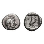 Lot 41 - Attica, Athens. c. 520-500 BC. Tetradrachm, 16.97g (8h). Obv: Helmeted head of Athena right with