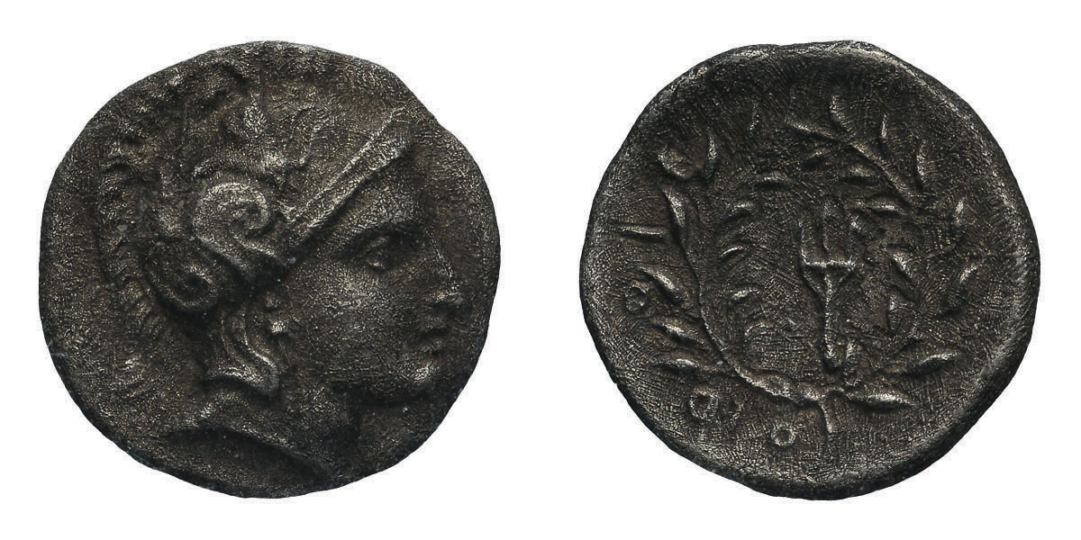 Lot 37 - Thessaly, Orthos. Mid 4th century BC. Obol, 0.86g (10h). Obv: Head of Athena right. Rx: Trident