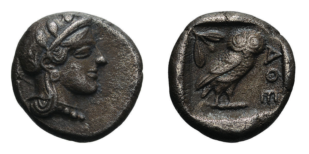 Lot 44 - Attica. Athens. c. 404 BC. Drachm, 4.05g (7h). Obv: Head of Athena right, wearing Attic helmet