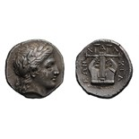 Lot 26 - Macedonia. Olynthus. c. 373-370 BC. Tetradrachm, 14.32g (10h). Obv: Laureate head of Apollo right.