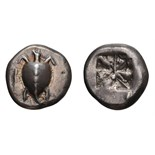Lot 46 - Attica. Aegina. 550-530 BC. Stater, 12.28g (11h). Obv: Smooth-shelled sea turtle with very thin