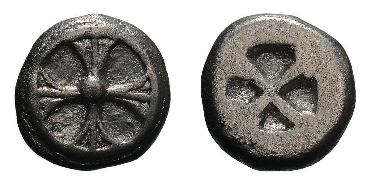 Lot 40 - Attica. Athens. Wappenmünzen. c. 510-500 BC. Drachm, 4.09g (11h). Obv: Four-spoked wheel. Rx: