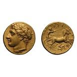 Lot 20 - Sicily. Syracuse. Agathocles. 317-289 BC. AV 60 Litrai (Decadrachm), 4.30g (3h). Sicily, Syracuse,