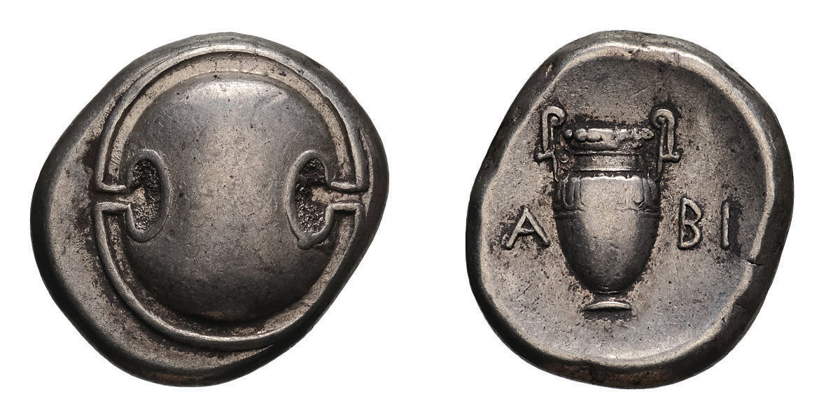 Lot 39 - Boeotia. Thebes. c. 395-338 BC. Stater, 12.12g (10h). Obv: Boeotian shield. Rx: Amphora; [K]A-BI