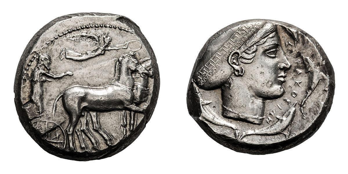 Lot 18 - Sicily, Syracuse. 430-420 BC. Tetradrachm, 17.20g (2h). Obv: Charioteer in quadriga right, horses