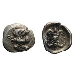 Lot 50 - Elis, Olympia. c. 460s BC. 1/8 Obol, 0.90g (9h). Obv: Eagle flying left, snake entwined round body