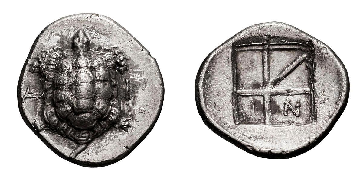 Lot 47 - Aegina. c. 350-338 BC. Obol, 0.92g (1h). Obv: Land tortoise; A - I across field. Rx: Skew pattern