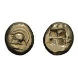 Lot 60 - Mysia. Cyzicus. c. 520-450 BC. EL Stater, 16.00g (2h). Obv: Helmet left, tunny below. Rx: