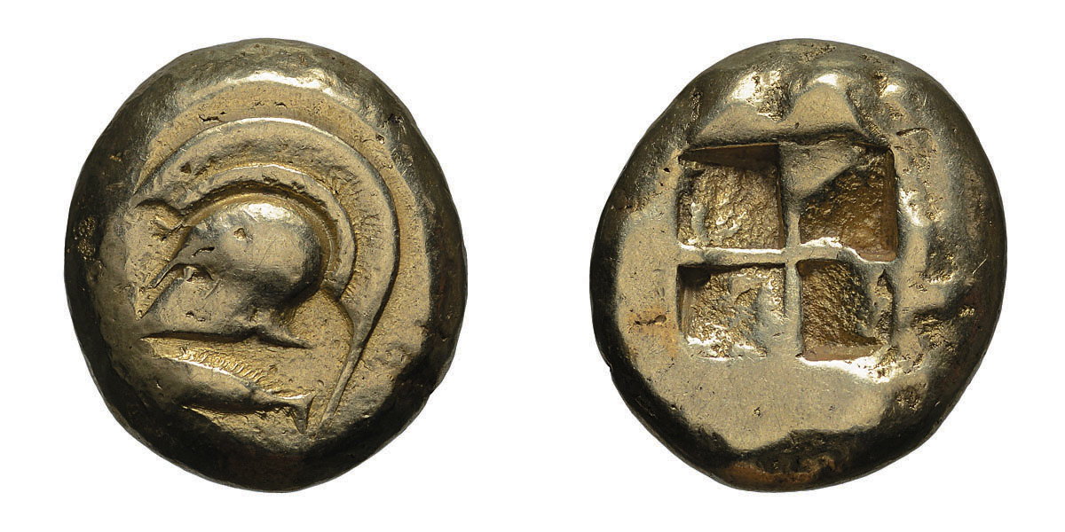 Lot 60 - Mysia. Cyzicus. c. 520-450 BC. EL Stater, 16.00g (2h). Obv: Helmet left, tunny below. Rx: