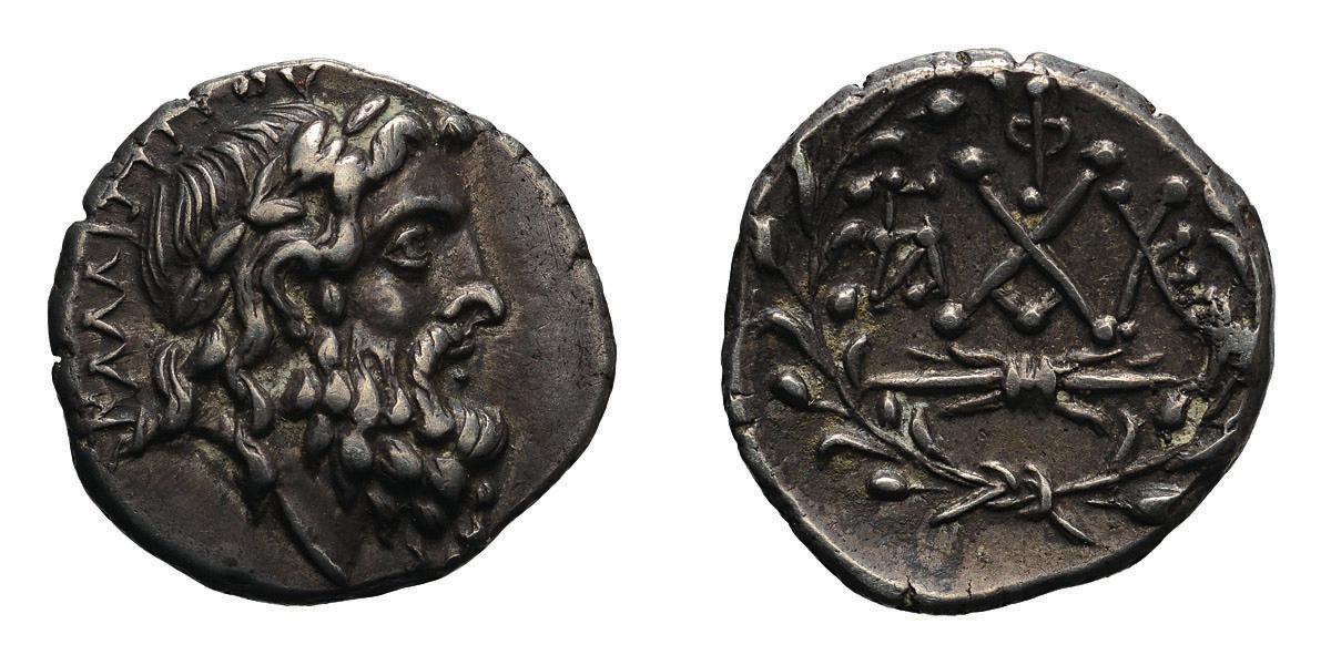 Lot 54 - Peloponnesus, Achaean League, Elis. Kallippos, magistrate, c. 40-30 BC. Hemidrachm, 2.38g (2h). Obv: