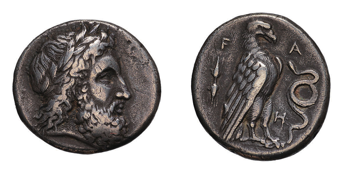 Lot 52 - Elis. Olympia. 112th Olympiad, 332 BC. Stater, 11.71g (3h). Obv: Laureate head of Zeus right. Rx: