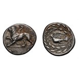 Lot 48 - Sicyonia. Sicyon. c. 340/330 BC. Stater, 12.23g (8h). Obv: Chimera stepping left, ΣΕ below, wreath