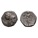 Lot 3 - Lucania. Heraclea. c. 330-325 BC. Stater, 8.00g (6h). Obv: Head of Athena right, wearing Attic