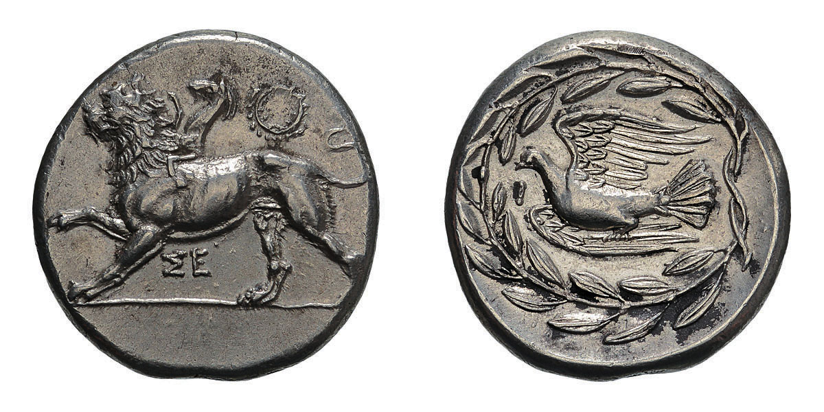 Lot 49 - Sicyonia. Sicyon. c. 335-330 BC. Stater, 12.26g (10h). Obv: Chimera stepping left, ΣΕ below,