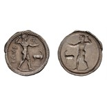 Lot 9 - Bruttium. Caulonia. c. 525-500 BC. Stater, 7.97g (11h). Obv: ΚΑΥΛ Apollo standing right, raising